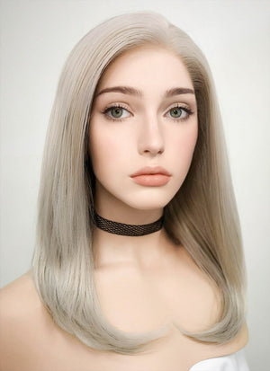 Pastel Grey Blonde Straight Bob Lace Front Synthetic Wig LF509