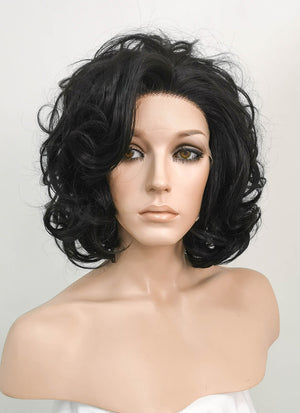 Black Wavy Bob Lace Front Synthetic Wig LF511