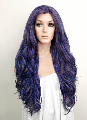 Dark Blue Wavy Lace Front Synthetic Tisnel Wig LF513