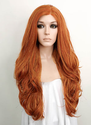 Light Auburn Wavy Lace Front Synthetic Tisnel Wig LF515