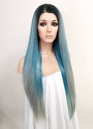 Mixed Blue With Dark Roots Straight Lace Front Synthetic Wig LF517