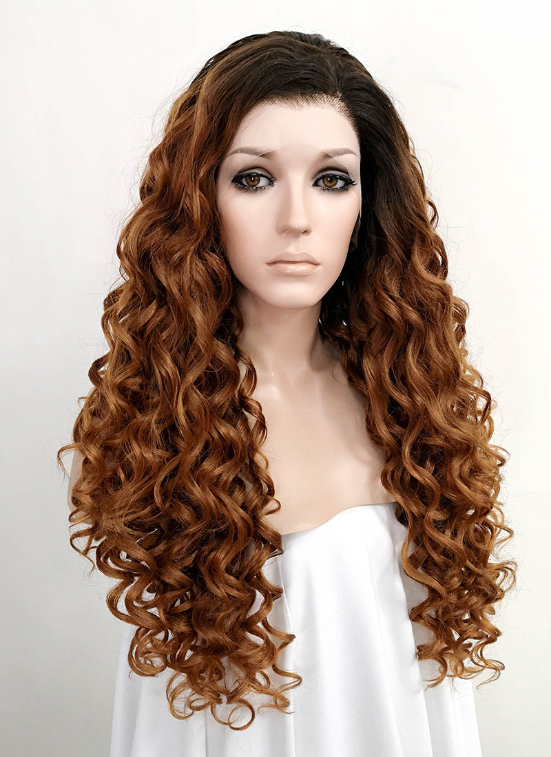 Brown With Dark Roots Curly Lace Front Synthetic Wig LF519