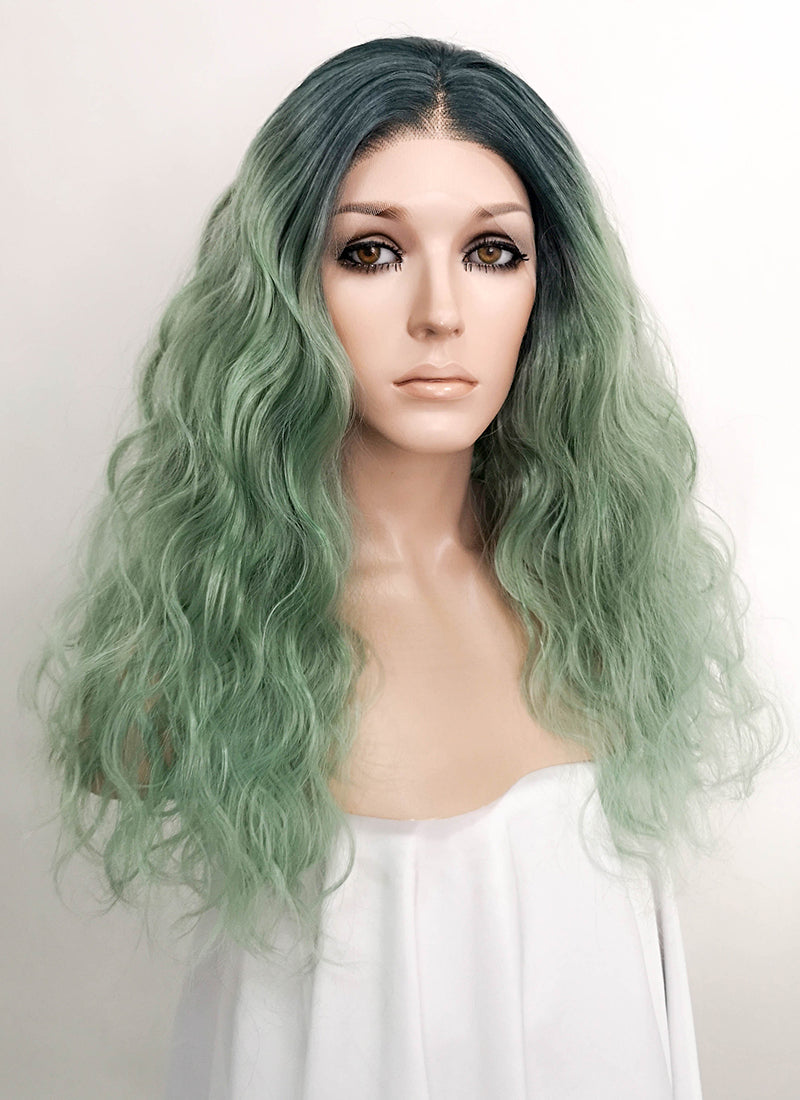 Two Tone Green Wavy Lace Front Synthetic Wig LF520