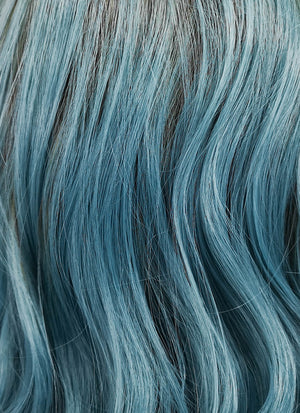 Blue With Brown Roots Bob Wavy Lace Front Synthetic Wig LF524