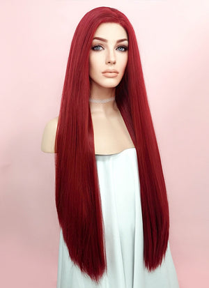 Straight Yaki Red Lace Front Synthetic Wig LF624A