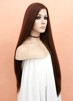 Brown Straight Yaki Lace Front Synthetic Wig LF624E