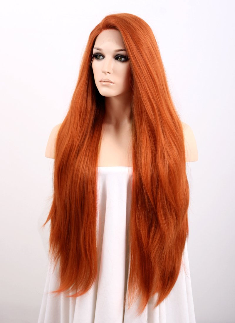 Straight Auburn Yaki Lace Wig CLF624 (Customisable)