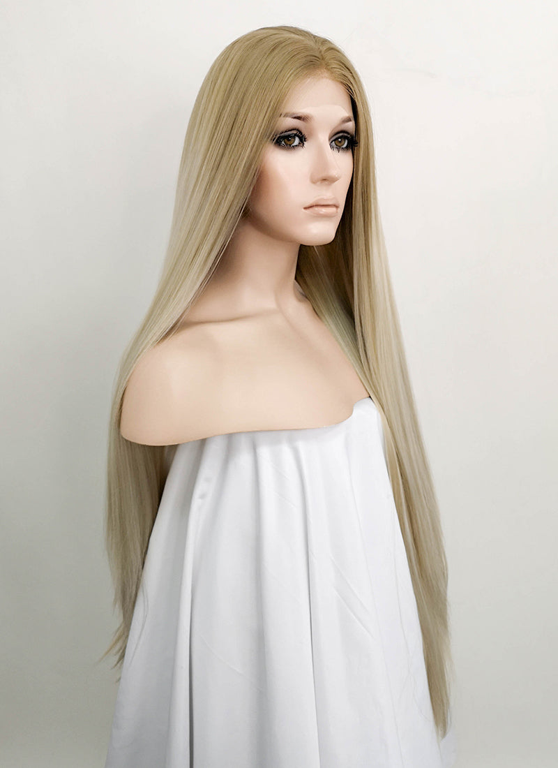 Two Tone Blonde Straight Lace Front Synthetic Wig LF630
