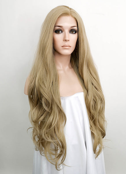 "28"" Long Wavy Ash Blonde Lace Front Synthetic Hair Wig LF640A"