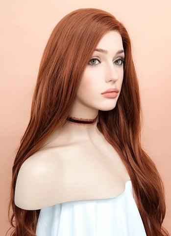 "24"" Wavy Light Reddish Brown Lace Front Synthetic Wig LF132"