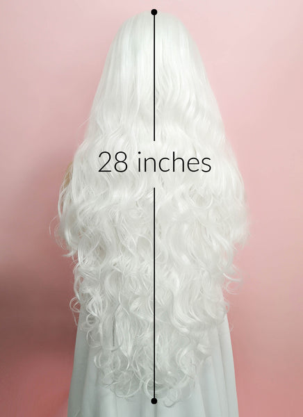 "28"" Wavy White Lace Front Synthetic Wig LF641B"