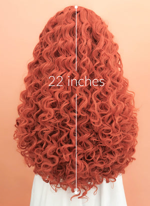 Orange Red Spiral Curly Lace Front Synthetic Wig LF663J