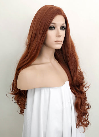 "26"" Long Spiral Curly Reddish Orange Lace Front Synthetic Hair Wig LF663J"