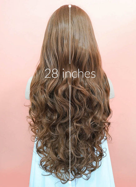 "28"" Long Curly Brown Lace Front Synthetic Hair Wig LF667J"