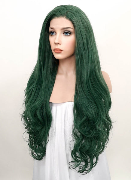"28"" Long Curly Wavy Deep Sea Green Customizable Lace Front Synthetic Hair Wig LF667V"