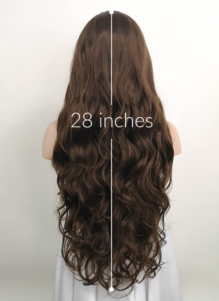"28"" Long Curly Medium Brown Customizable Lace Front Synthetic Hair Wig LF694"