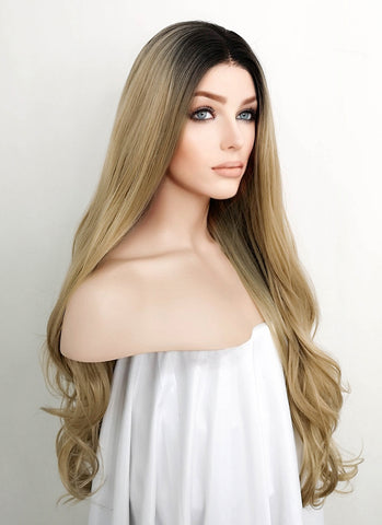 "28"" Wavy Blonde With Dark Roots Lace Front Synthetic Wig LF734"