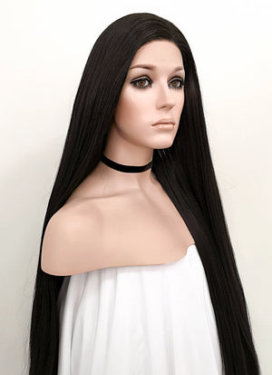Straight Yaki Natural Black Lace Front Synthetic Wig LF701A