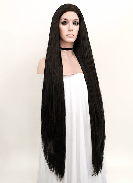 "39"" Long Straight Yaki Natural Black Lace Front Synthetic Hair Wig LF701A"