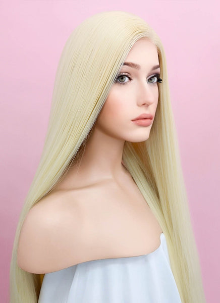 "39"" Long Straight Yaki Blonde Lace Front Synthetic Hair Wig LF701E"
