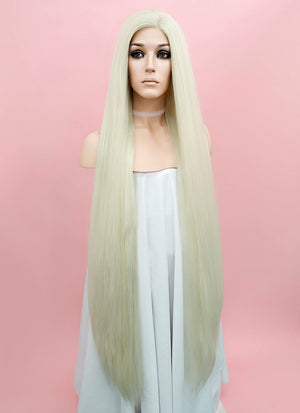 Straight Yaki Platinum Blonde Lace Front Synthetic Wig LF701H