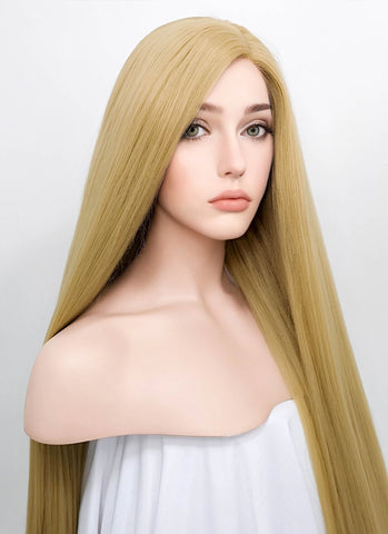 "14"" Light Blonde Straight Bob Lace Front Synthetic Wig LF269"