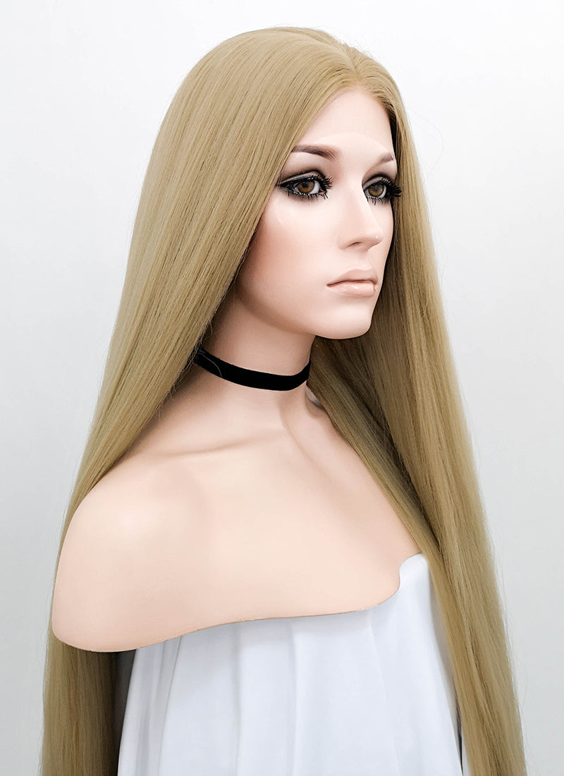 Blonde Straight Yaki Lace Front Synthetic Wig LF701X