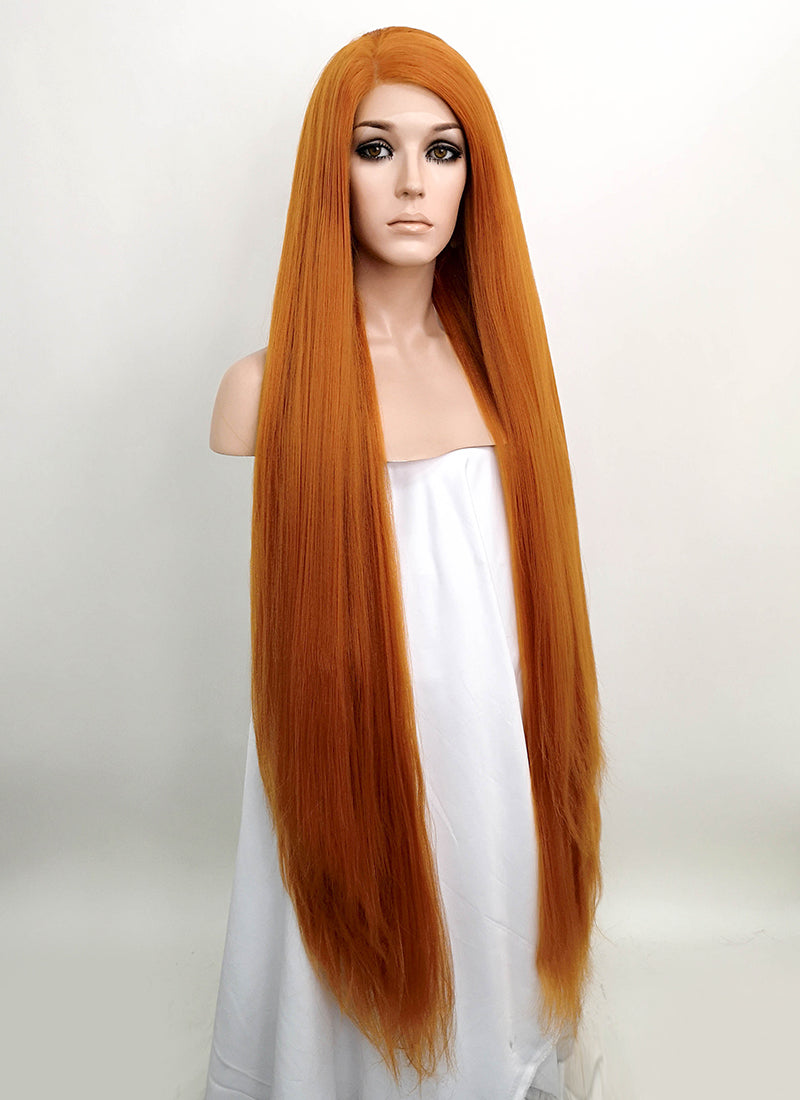 Light Auburn Straight Yaki Lace Front Synthetic Wig LF701Y