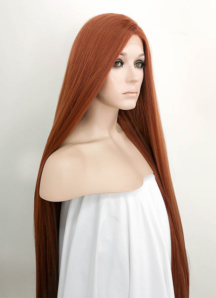 "39"" Long Straight Yaki Reddish Brown Lace Front Synthetic Hair Wig LF701"