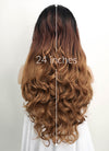 Two Tone Brown With Dark Roots Wavy Lace Front Synthetic Wig LF712