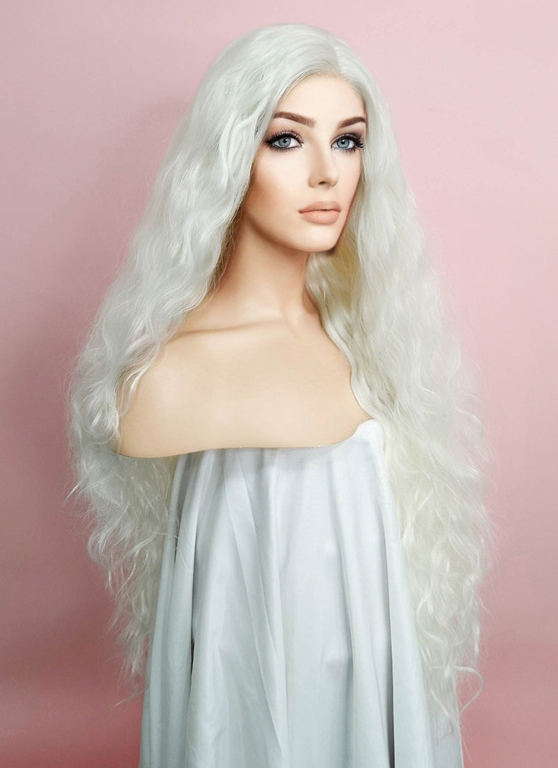 White Curly Lace Front Synthetic Wig LF741B