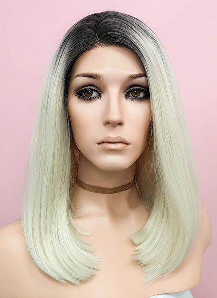 "12"" Short Wavy Black Mixed Light Blonde Ombre Lace Front Synthetic Hair Wig LF757A"