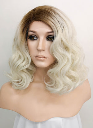 Light Blonde With Dark Roots Wavy Bob Lace Front Synthetic Wig LF771M