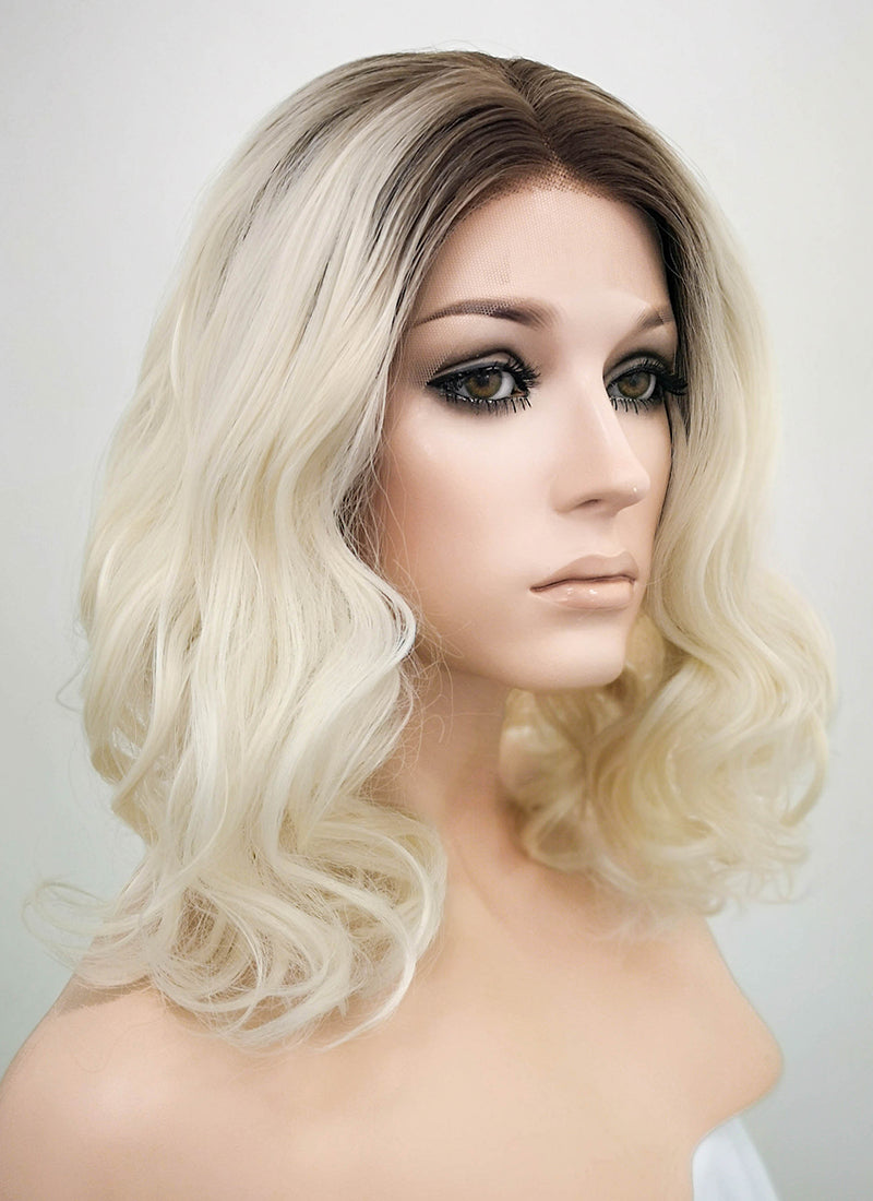 "10"" / 14"" / 16"" Medium Curly Wavy Black Mixed Light Blonde Ombre Customizable Lace Front Synthetic Hair Wig LF771"