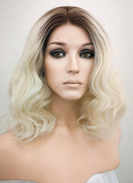 "14"" Medium Curly Wavy Dark Brown Mixed Light Blonde Ombre Lace Front Synthetic Hair Wig LF771"