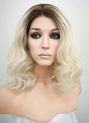 Light Blonde With Dark Roots Wavy Bob Lace Front Synthetic Wig LF771