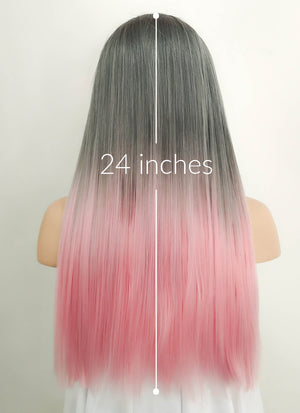 Grey Pink Ombre With Dark Roots Straight Lace Front Synthetic Wig LF786