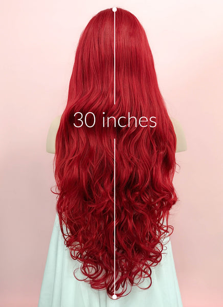"28"" Long Curly Red Lace Front Synthetic Hair Wig LF809"