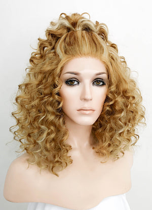Mixed Blonde Shaggy Curly Bob Lace Front Synthetic Wig LF817F