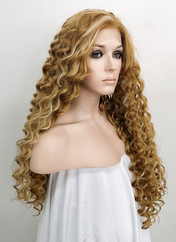 "18"" / 24"" / 28"" Long Wavy Black Mixed Blonde Lace Front Synthetic Hair Wig LF697"
