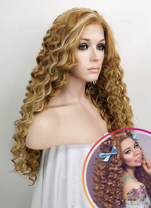 Spiral Curly Mixed Blonde Lace Front Synthetic Wig LF817