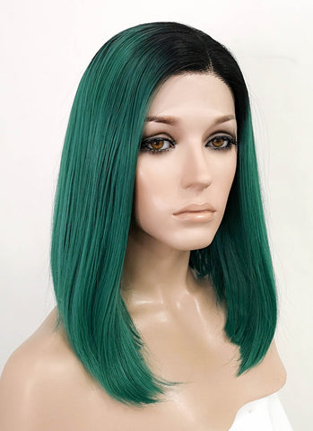 "26"" Long Straight Mixed Light Green Lace Front Synthetic Hair Wig LF813"