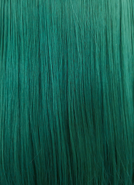 "14"" Medium Straight Black Mixed Dark Green Lace Front Synthetic Hair Wig LF819"