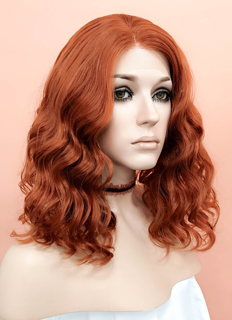 Reddish Orange Wavy Bob Lace Front Synthetic Wig LF831A