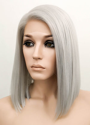 Silver Grey Straight Bob Lace Front Synthetic Wig LF837F
