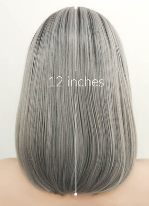 Grey With Dark Roots Straight Bob Lace Front Synthetic Wig LF837
