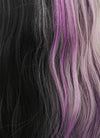 Grey Mixed Purple Black Split Color Wavy Lace Front Synthetic Wig LF869