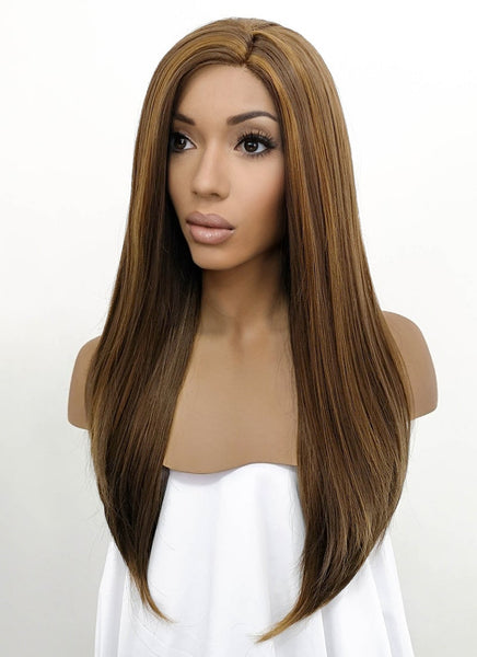 "24"" Long Straight Brown Lace Front Synthetic Hair Wig LFB006"