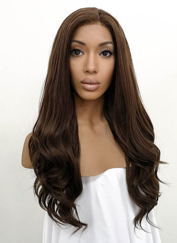 "26"" Wavy Brown Mixed Blonde Lace Front Synthetic Wig LF083"