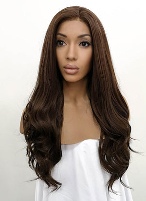 Brunette Wavy Lace Front Synthetic Wig LFB117